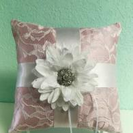 Pink lace ring bearer pillow