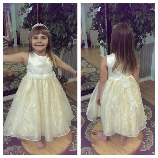 A beautiful two tone flower girl dress.